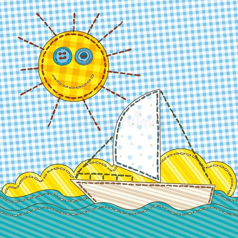 与太阳和小船的滑稽的补缀品 库存例证