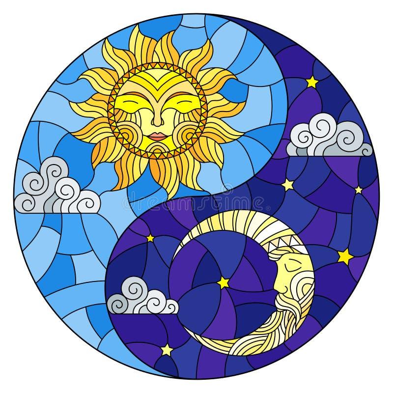 与太阳和月亮的彩色玻璃例证在以尹杨标志,圆图象的形式天空背景 向量例证