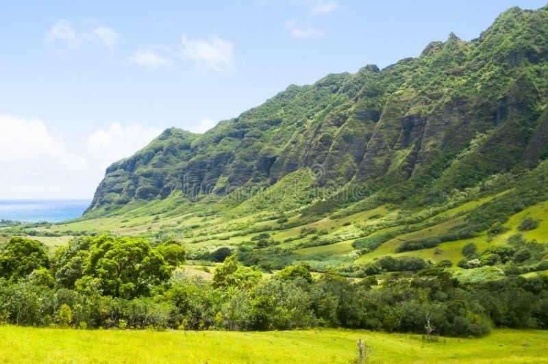 与太阳奥阿胡岛夏威夷美国的Kaawa谷 库存照片