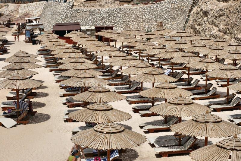 与太阳懒人和伞的海滩 免版税库存图片