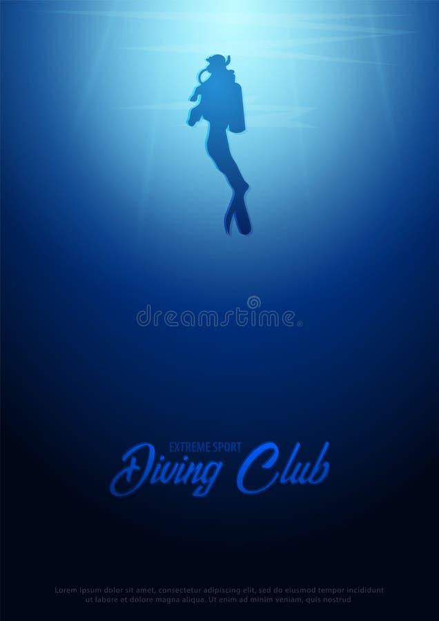 与太阳潜水者光芒和剪影的水下的背景  深海海报 使颜色女孩例证杂志读的含沙向量靠岸 向量例证
