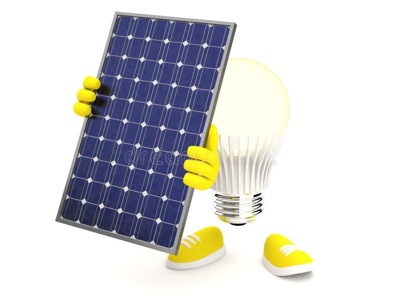 与太阳电池板的聪明的LED在白色背景 向量例证
