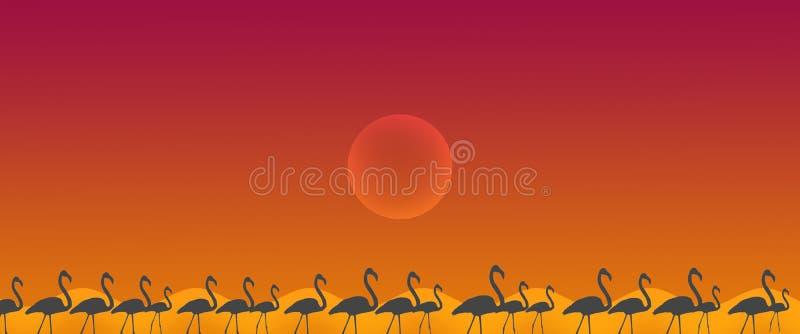 与太阳的倒栽跳水背景鸟更加伟大的火鸟群 皇族释放例证