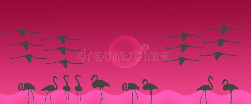 与太阳的倒栽跳水背景鸟更加伟大的火鸟群 库存例证