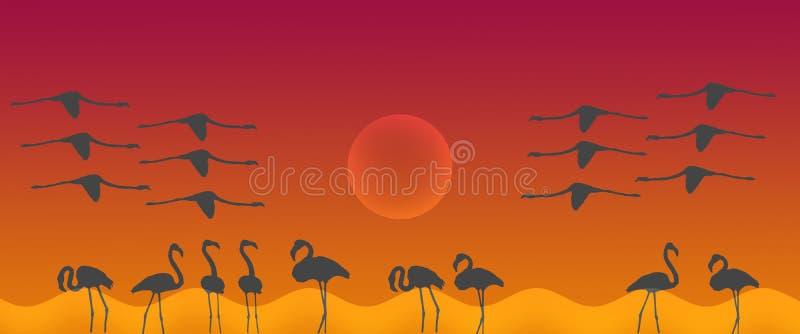 与太阳的倒栽跳水背景鸟更加伟大的火鸟群 向量例证