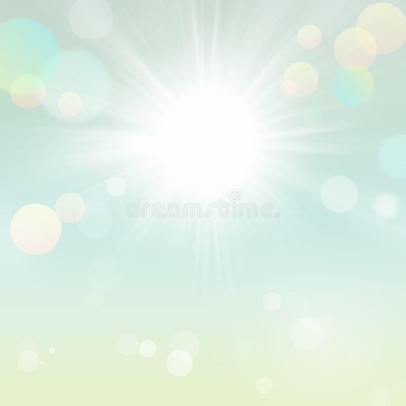 与太阳的抽象晴朗的自然夏天春天背景 皇族释放例证