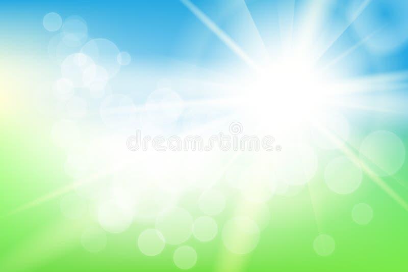 与太阳的自然晴朗的抽象夏天背景 向量例证