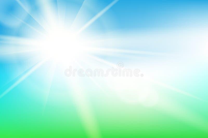 与太阳的自然晴朗的抽象夏天背景 库存例证