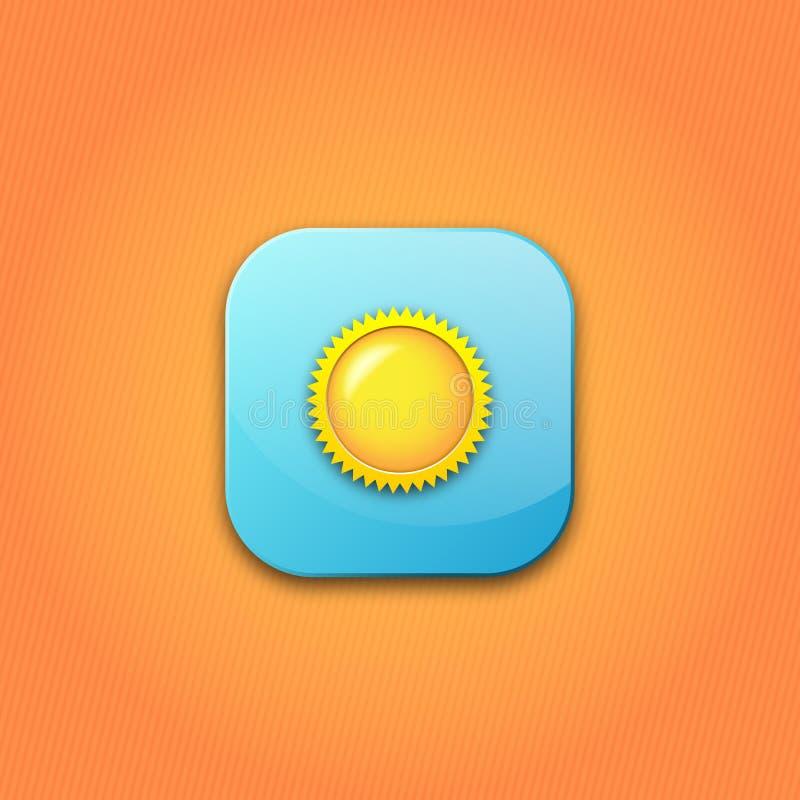 与太阳的蓝色象 在橙色背景的按钮 皇族释放例证