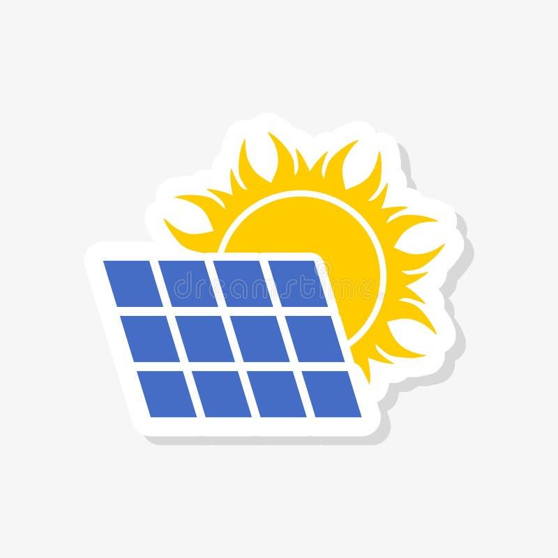 与太阳贴纸的太阳电池板 库存例证