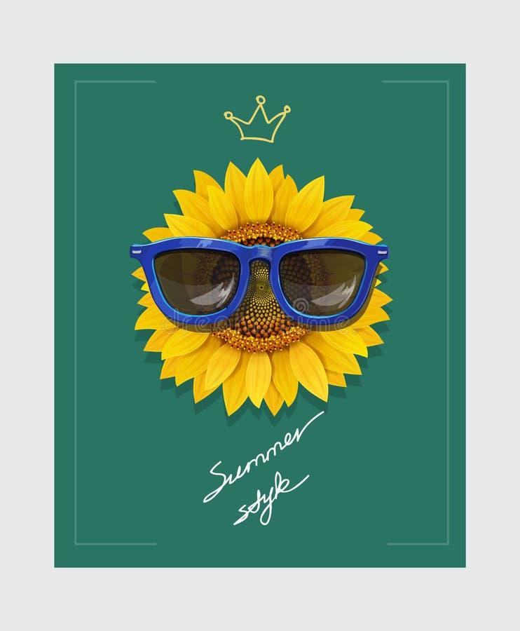 与太阳镜和口号夏天样式的向日葵 与传染媒介例证的T恤杉印刷品 皇族释放例证