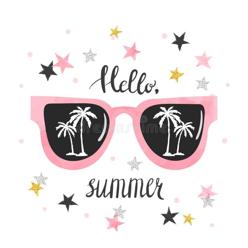 与太阳镜和棕榈的夏天海报 库存例证