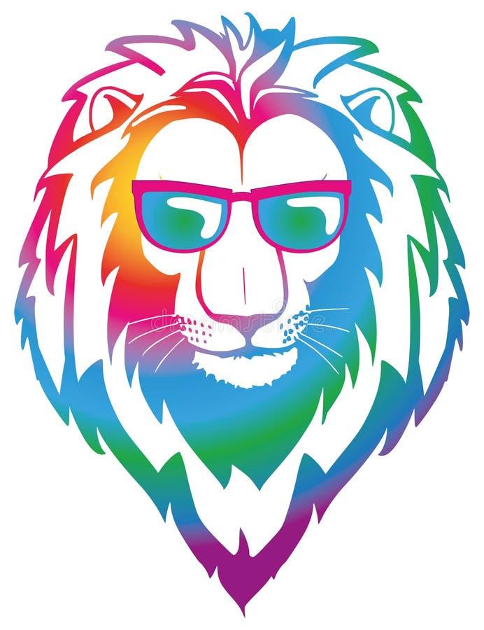 与太阳镜的五颜六色的凉快的狮子 库存例证