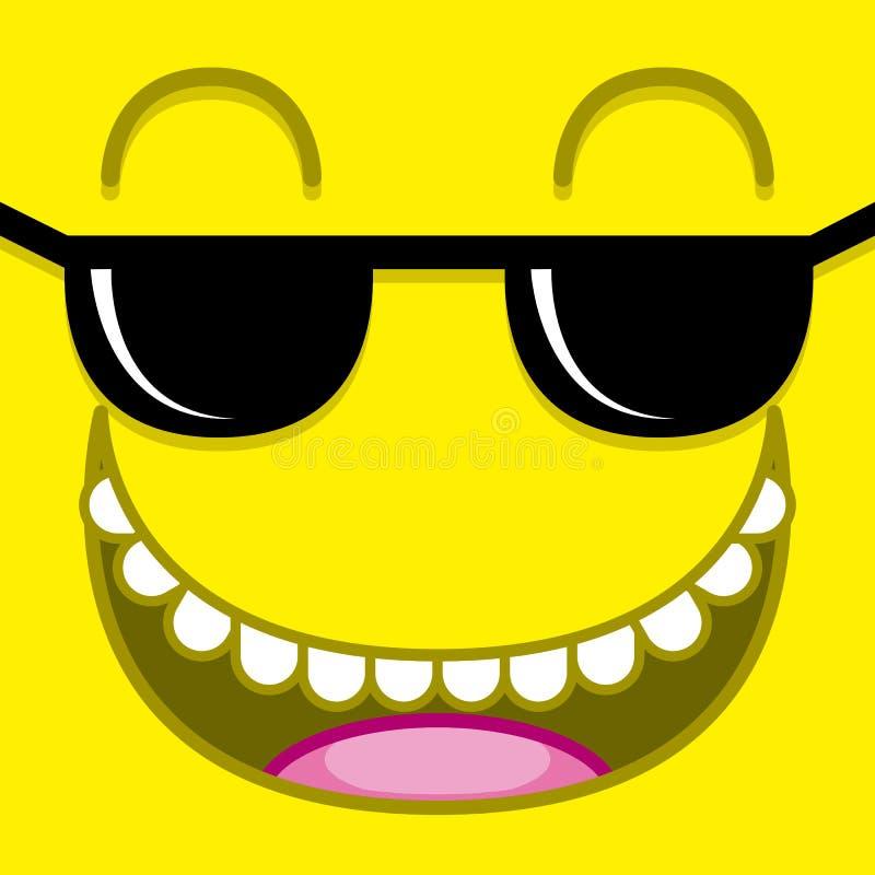 与太阳镜的传染媒介逗人喜爱的动画片黄色面孔 库存例证