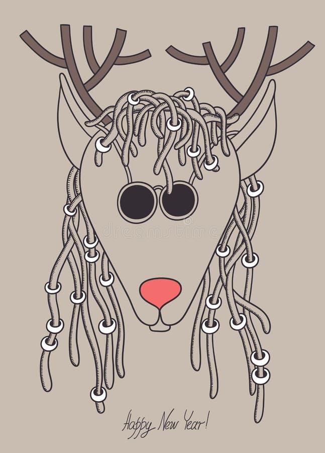 与太阳镜的原始的行家圣诞节鹿 库存例证