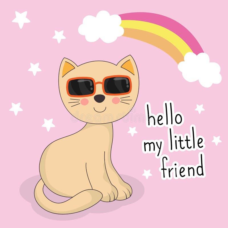 与太阳镜的可爱的小的猫在桃红色背景 你好我的小朋友 皇族释放例证