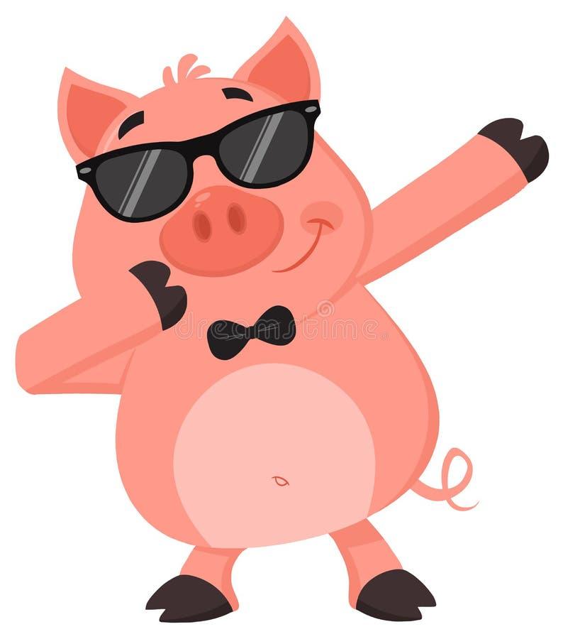 与太阳镜的滑稽的猪卡通人物轻打轻打 皇族释放例证