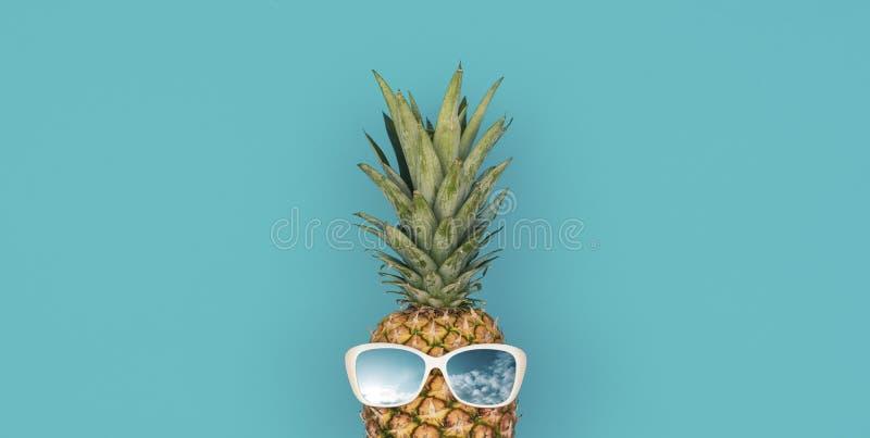 与太阳镜的滑稽的菠萝 免版税库存照片