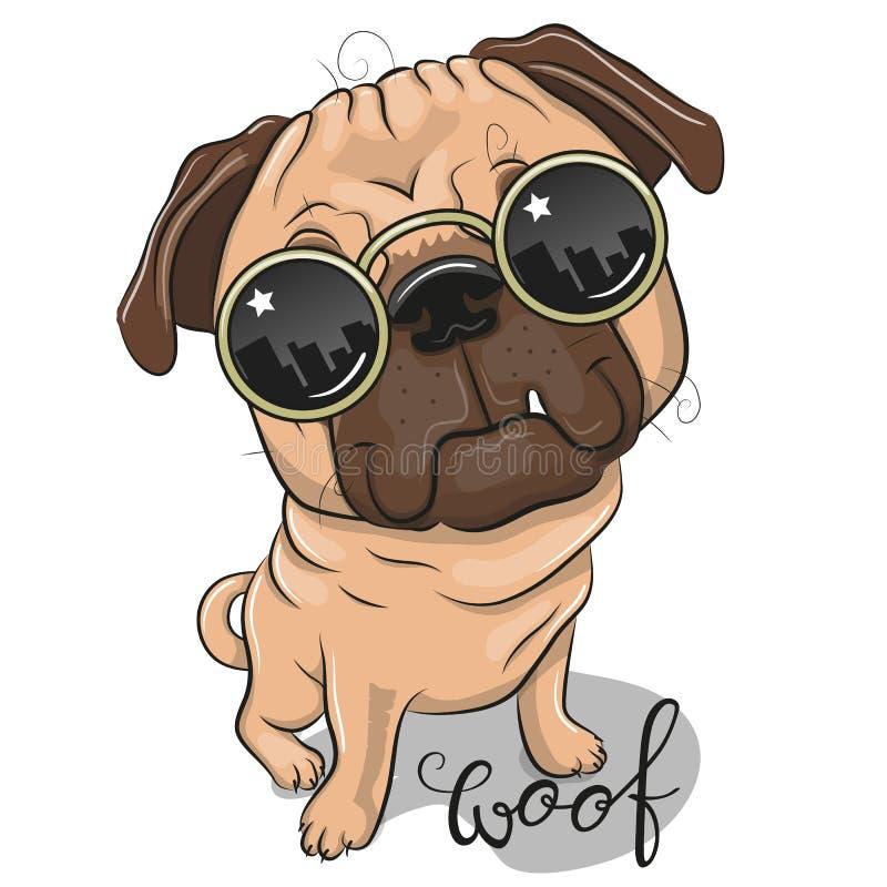 与太阳镜的逗人喜爱的哈巴狗狗 库存例证