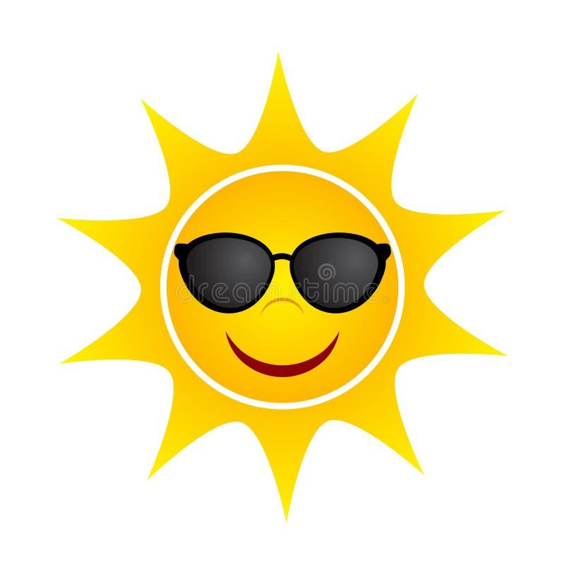 与太阳镜的黄色夏天太阳,储蓄传染媒介例证 库存例证