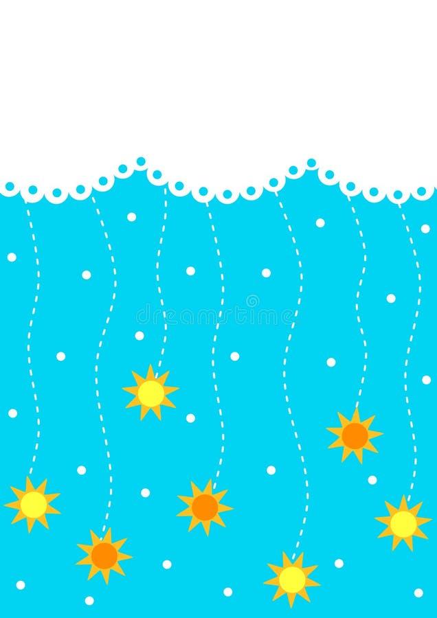 与太阳雨婴儿送礼会卡片的云彩 库存例证