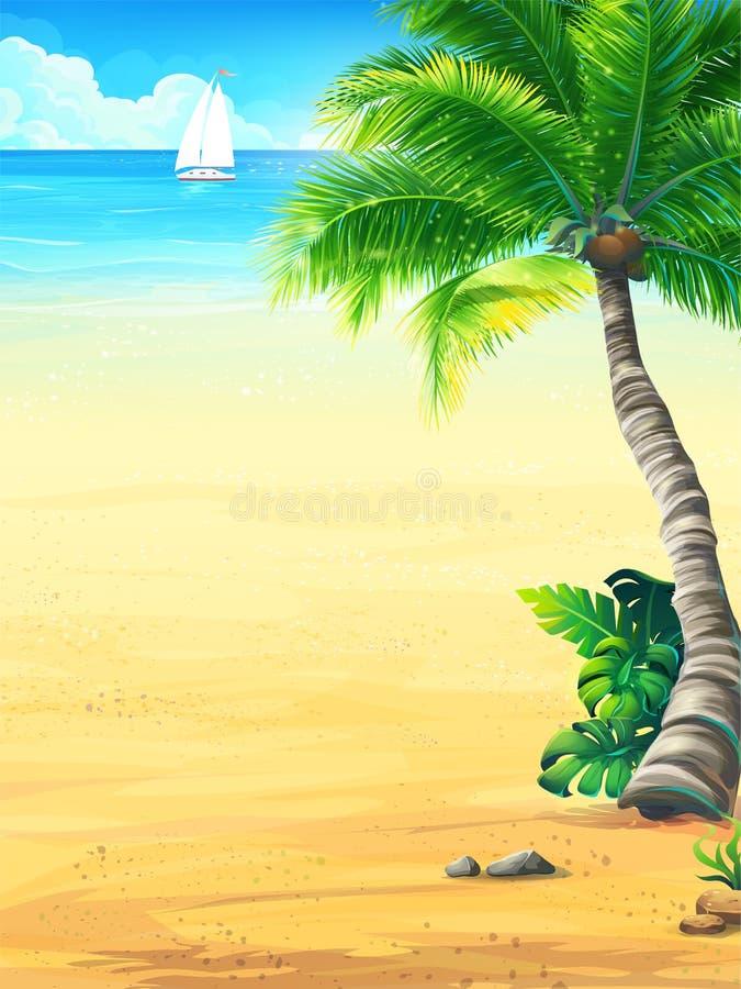与太阳,海,天空,棕榈树,海滩,小船的背景假期 皇族释放例证