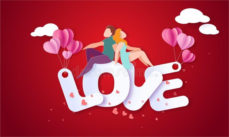 与夫妇的情人节卡片在爱心脏 皇族释放例证