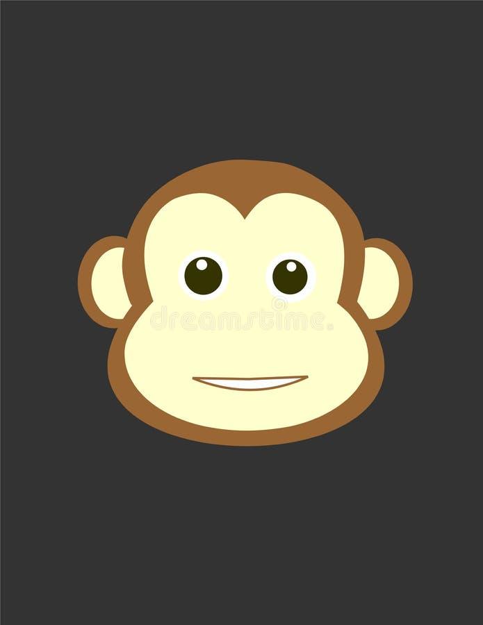与头的后面的猴子 向量例证