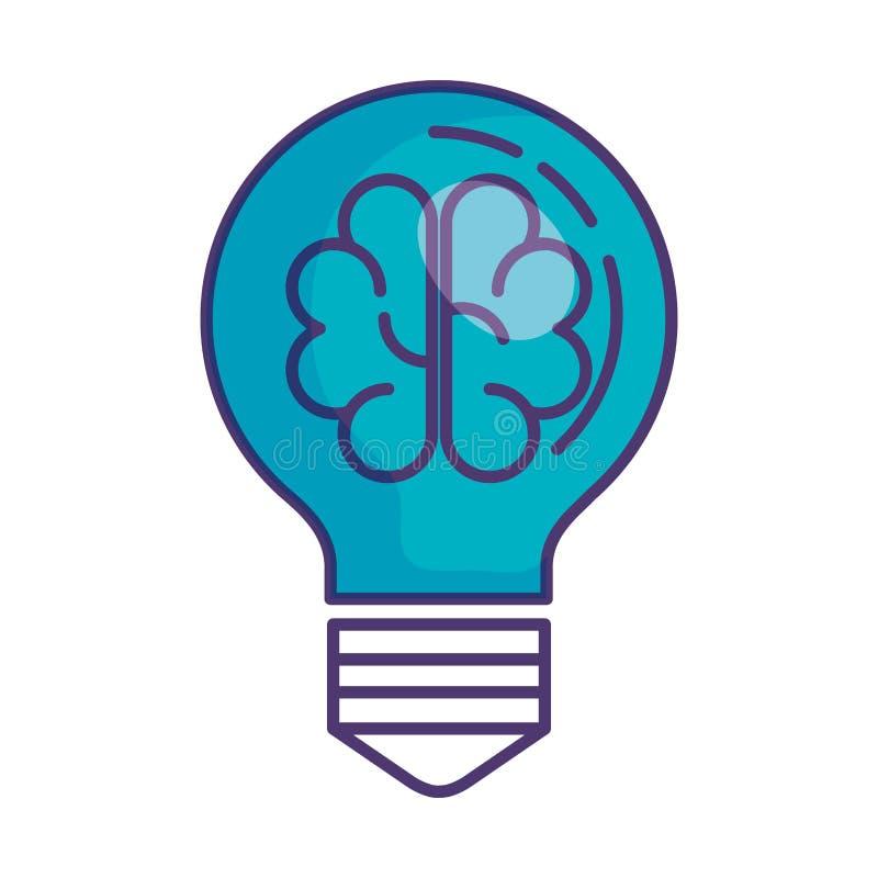 与头脑狂热的电灯泡光 库存例证