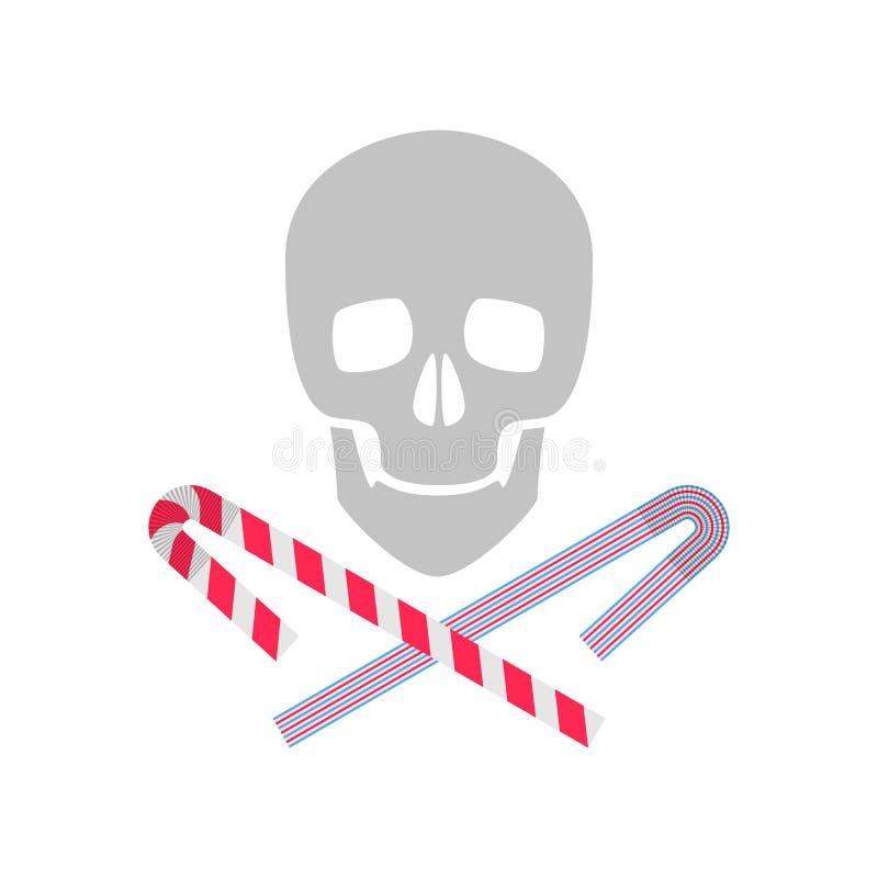 与头骨和吸管的塑料污染例证 向量例证