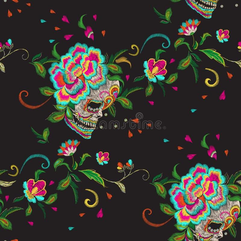 与头骨和玫瑰的刺绣花卉无缝的样式 库存例证