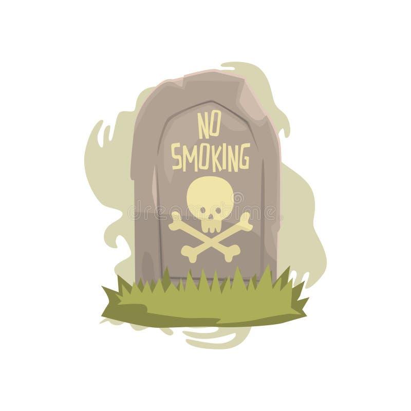 与头骨和骨头和禁烟题字恶习,抽烟,尼古丁上瘾动画片的危险的墓碑 向量例证