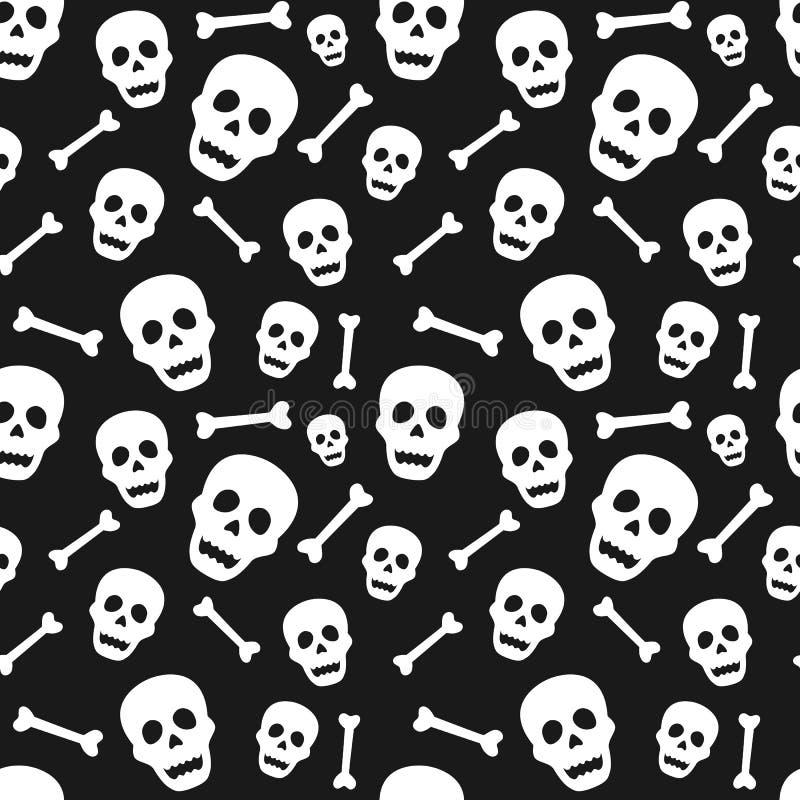 与头骨和骨头的万圣夜无缝的样式 backg的设计 皇族释放例证
