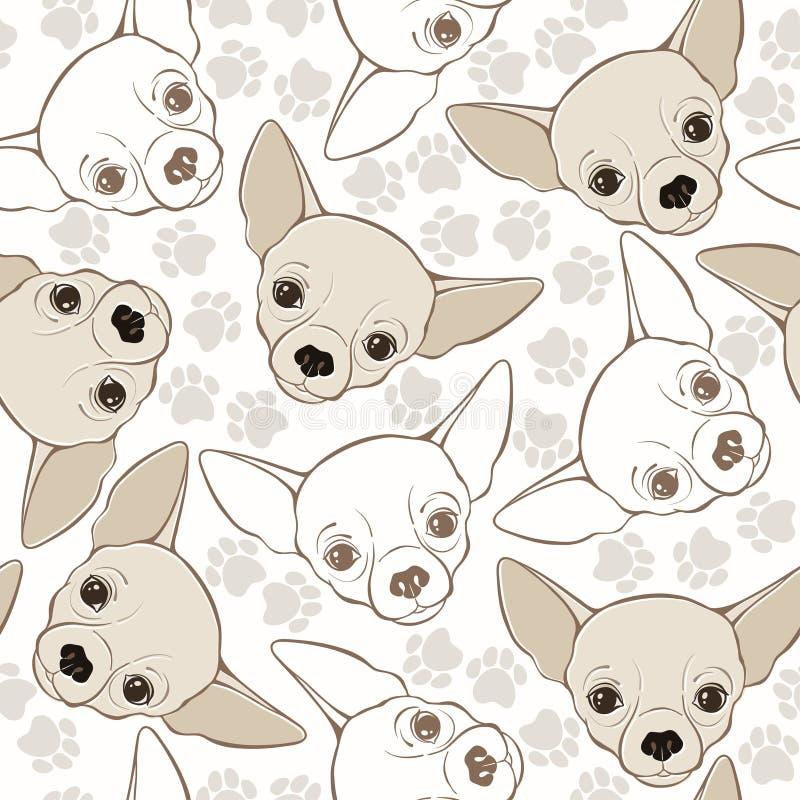 与奇瓦瓦狗狗和踪影的传染媒介无缝的样式 库存例证