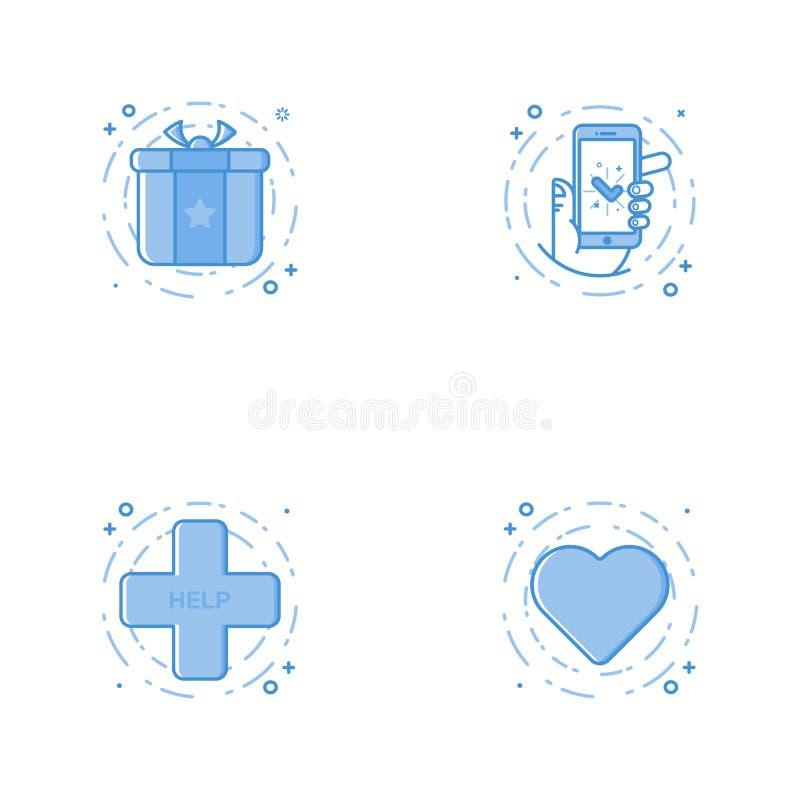 与奖,在手中电话的象,心脏,帮助十字架 免版税库存照片