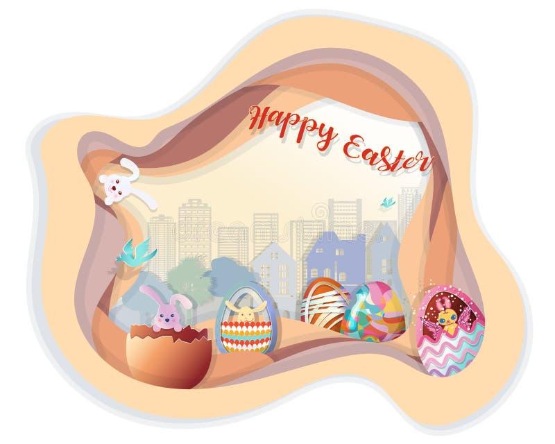 与套的复活节快乐在步的复活节彩蛋与树和大厦行的groud在背景中 库存例证