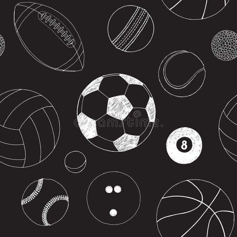 与套的无缝的样式体育球 手拉的传染媒介剪影 在黑背景的白色体育项目 模式 皇族释放例证