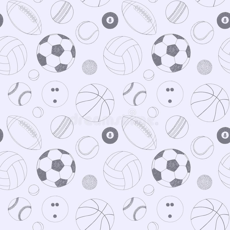 与套的无缝的样式体育球 手拉的传染媒介剪影 背景的灰色体育项目 包括的模式 向量例证