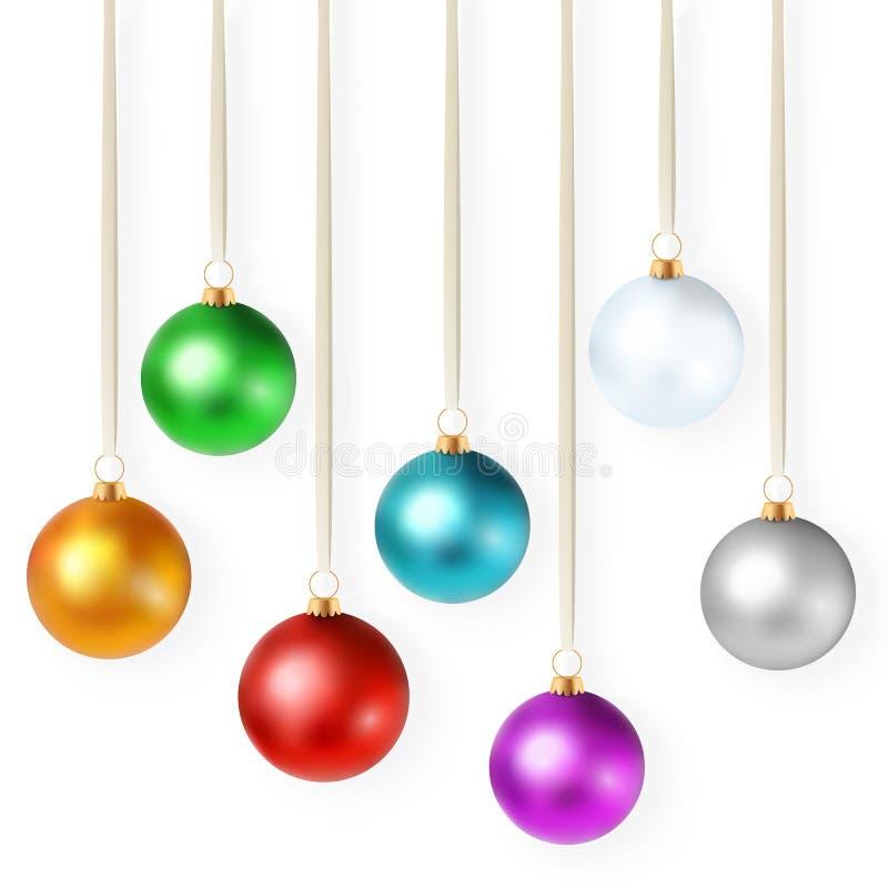 与套的现实传染媒介例证被隔绝的明亮的五颜六色的圣诞节装饰品 库存例证