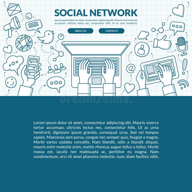与套的社会网络概念例证媒介象 皇族释放例证