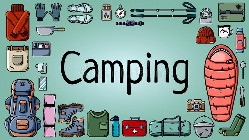 与套的野营的横幅旅游项目 库存例证
