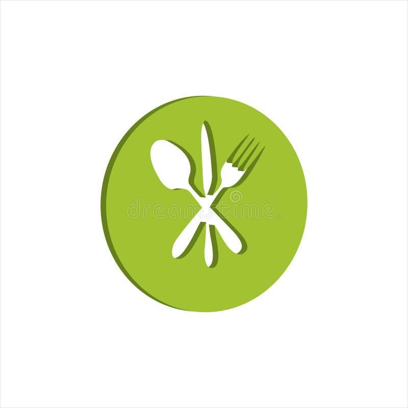 与套的餐馆商标吃工具 皇族释放例证