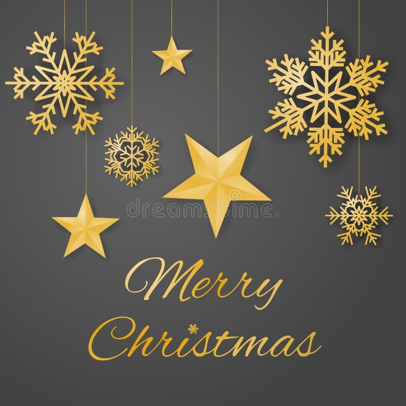 与奢侈垂悬的金子色的雪花和星的圣诞快乐豪华贺卡传染媒介在灰色背景 向量例证