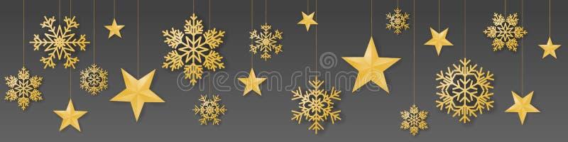 与奢侈垂悬的金子色的雪花和星的无缝的冬天圣诞节传染媒介在灰色背景 向量例证