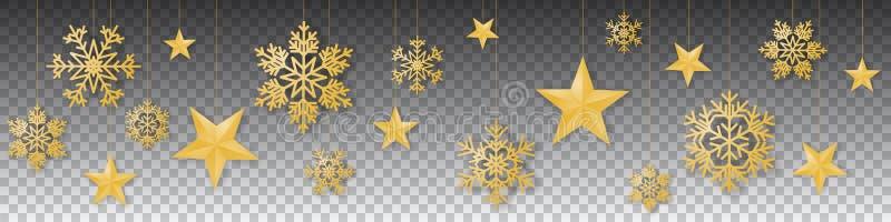 与奢侈垂悬的金子色的雪花和星的无缝的冬天圣诞节传染媒介在透明背景 向量例证