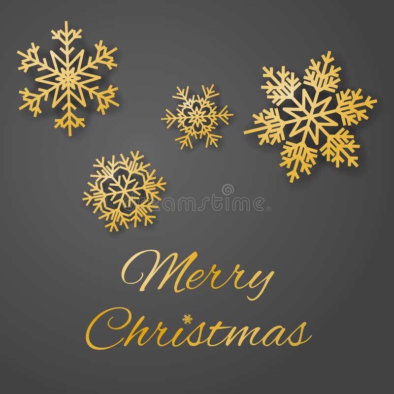 与奢侈金子色的雪花的圣诞快乐豪华贺卡传染媒介在灰色背景 皇族释放例证