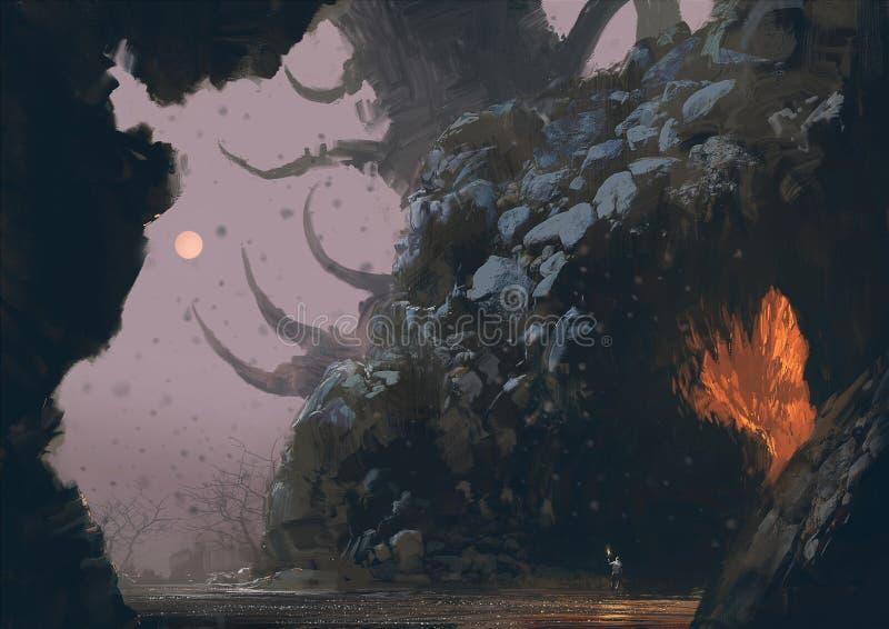 与奥秘洞的幻想风景 皇族释放例证