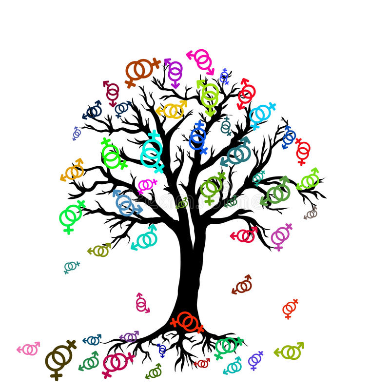 与女同性恋的夫妇的五颜六色的标志的树 向量例证