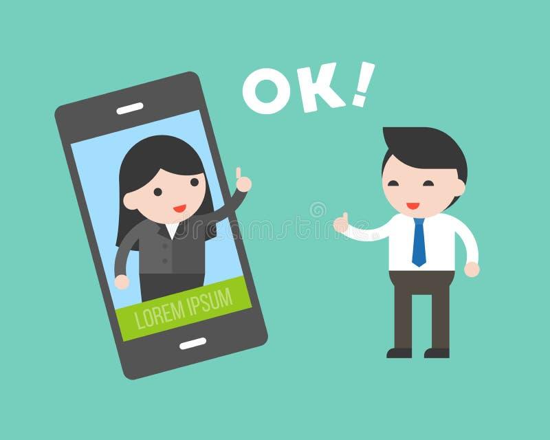 与女商人的商人通信由手机, comm 向量例证