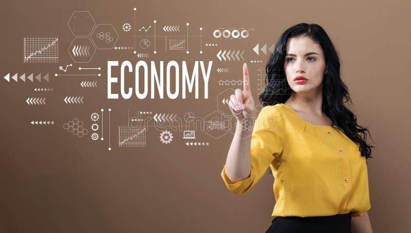 与女商人的经济文本 免版税库存图片